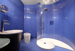 Contemporary 3/4 Bathroom with frameless showerdoor, Crossville - brilliante glass - sapphire ig15, Rain shower, flush light