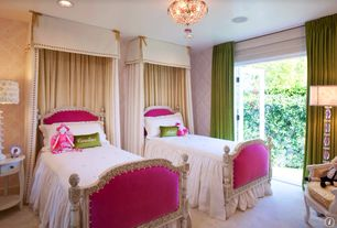 Traditional Kids Bedroom with French doors, Chandelier, Standard height, can lights, Carpet, no bedroom feature