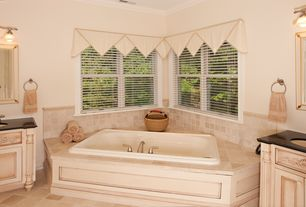 """Country Master Bathroom with Corian counters, Undermount sink, Jason Hydrotherapy Integrity 72"""" x 42"""" Bathtub, Crown molding"""