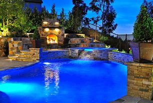 Traditional Swimming Pool with Rockwood Baby Grand Fireplace, sandstone floors, Pool with hot tub, High ceiling