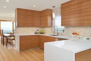 Contemporary Kitchen with Pendant light, Hardwood floors, Breakfast nook, Waterfall countertop edge, European Cabinets, Flush
