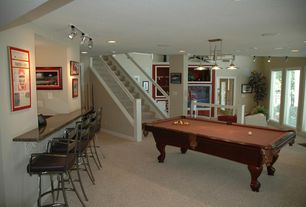 Modern Game Room with Carpet, Pendant light