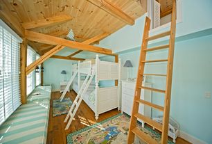 Cottage Kids Bedroom with Bunk beds, Built-in bookshelf, Window seat, High ceiling, Hardwood floors, White painted bunk bed