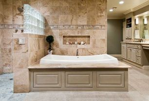 Traditional Master Bathroom with Stone Tile, Inset cabinets, Limestone counters, Daltile Slate Collection Indian Multicolor