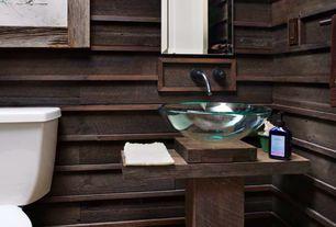 Rustic Powder Room with Standard height, Powder room, Vessel sink, Wood counters, specialty door
