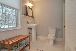 Cottage Full Bathroom with wall-mounted above mirror bathroom light, Standard height, linen and towel storage cabinet