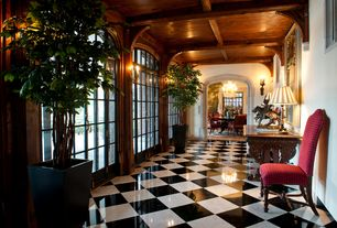"""Traditional Hallway with Exposed beam, French doors, Box ceiling, Wall sconce, Tiles - black 16"""", simple marble floors"""