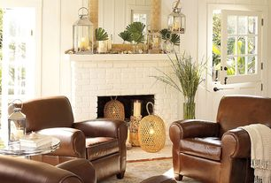 Traditional Living Room with MANHATTAN LEATHER CLUB CHAIR, Fireplace, Hardwood floors, Dutch door, Paint, Casement