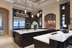 Contemporary Kitchen with Crown molding, High ceiling, double wall oven, Pendant light, Framed Partial Panel, Paint 1