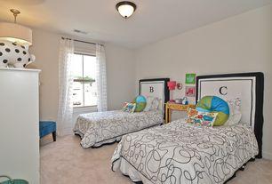 "Modern Kids Bedroom with Traditional bronze finish 15"" wide ceiling light fixture, flush light, Monogram headboard slipcover"