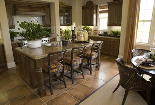 Traditional Kitchen with Kitchen island, Flush, Simple granite counters, limestone tile floors, High ceiling, Raised panel
