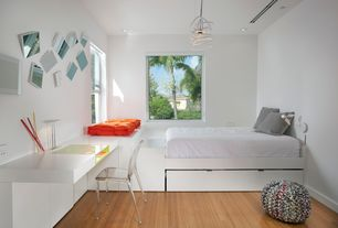 Contemporary Guest Bedroom with flush light, Laminate floors, Vertigo Pendant, Entreat Dining Chair, Built-in bookshelf