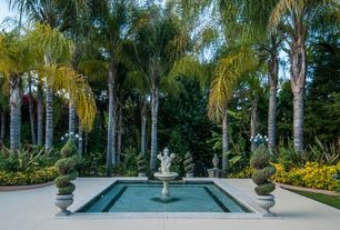 Traditional Landscape/Yard with Bird bath, Fence, exterior tile floors, Raised beds, Pond, Italian Carved Marble Fountain