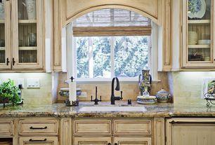 Country Kitchen with Moen ascent single-handle pull-down sprayer kitchen faucet, Ms international splendor cream granite