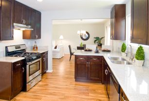 Craftsman Kitchen with Flush, can lights, Baxton studio moira black modern dining chair, dishwasher, partial backsplash