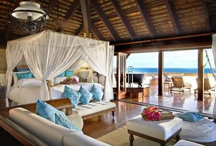 Tropical Master Bedroom with Exposed beam, Amish modern chaker canopy bed, High ceiling, Pendant light, Hardwood floors
