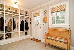 Country Mud Room with Crown molding, Rejuvenation grant court, Pendant light, Glass panel door, Built-in bookshelf