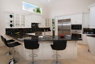 Traditional Kitchen with Cabinets, U-shaped, Glass panel, Raised panel, Complex Granite, Flush, Breakfast bar