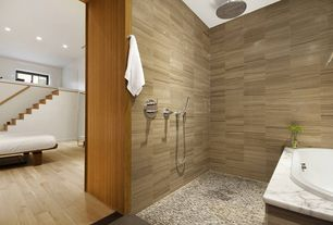 Contemporary Full Bathroom with Eleganza bifusion tobacco 3x12, Standard height, Grohe rain shower shower head, Rain shower