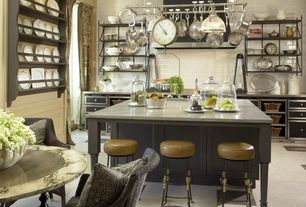 Contemporary Kitchen with Ann Sacks - Context Field Tile, Pental - Kashmir Ivory Polished Granite, Crown molding, Galley