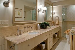 Traditional Master Bathroom with Shower, Standard height, Double sink, Flush, Wall Tiles, Interlocking Pavers, Wall sconce