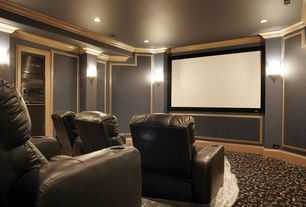 Traditional Home Theater with can lights, Carpet, Pendant light, Crown molding, interior wallpaper, Standard height