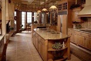 Traditional Kitchen with MS International Tuscany Classic 4x4 Tumbled Travertine Tile