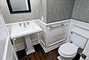 Traditional Powder Room with specialty door, Standard height, Hardwood floors, Wainscotting, interior wallpaper, Wallpaper