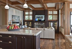 Contemporary Great Room with interior wallpaper, Wainscotting, stone fireplace, Glass panel door, Box ceiling, Pendant light