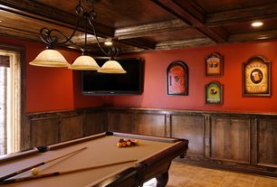 Traditional Game Room with Crown molding, Standard height, Wainscotting, Pendant light, can lights, Box ceiling