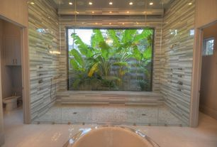 Asian Master Bathroom with Paint 1, Bidet, can lights, Master bathroom, Java Tan Pebble Tile, European Cabinets, Bathtub