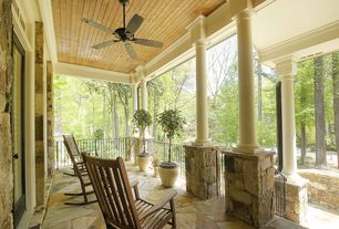 Rustic Porch with Pathway, exterior stone floors, Wrap around porch, French doors, Transom window