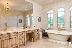 Traditional Master Bathroom with Avon acrylic pedestal tub, Master bathroom, Freestanding, Arched window, Crown molding