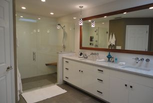 Contemporary Full Bathroom with Flush, Double sink, Pendant light, Corian counters, European Cabinets, Handheld showerhead