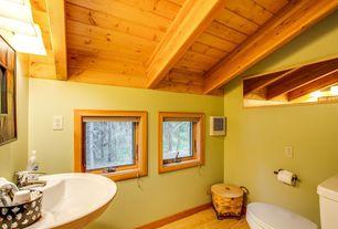 Craftsman Powder Room with Standard height, Casement, Pedestal sink, Paint, Hardwood floors, Powder room, Exposed beam