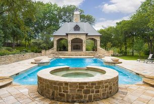 Traditional Swimming Pool with Gazebo, Fence, Raised beds, Pathway, exterior stone floors, Pool with hot tub