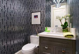 Art Deco Powder Room with Arizona tile, BORA BORA BEIGE, Quartz, Paint, interior wallpaper