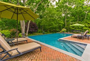 Contemporary Swimming Pool with Raised beds, exterior brick floors, Infinity pool