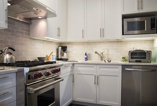 """Traditional Kitchen with eModern Decor Euro Stainless Steel 6"""" Cabinet Handle Bar Pull, Flat panel cabinets, Subway Tile"""