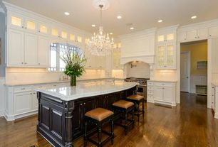 Traditional Kitchen with Custom hood, Flat panel cabinets, Bellawood Hues - Gunstock Oak Rustic, Hardwood floors, L-shaped