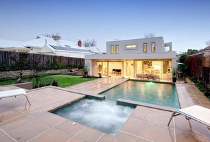 Contemporary Swimming Pool with Pool with hot tub, Pathway, Outdoor kitchen, Fence, exterior tile floors