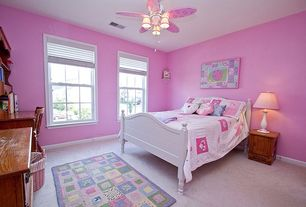 Country Kids Bedroom with double-hung window, Standard height, Carpet, Built-in bookshelf, Ceiling fan, no bedroom feature