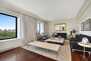 Traditional Living Room with Standard height, Window seat, Casement, Hardwood floors, Crown molding, can lights