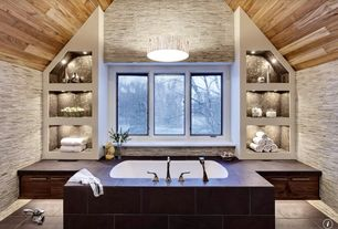 Contemporary Master Bathroom with Master bathroom, Wall Tiles, European Cabinets, Pendant light, Bathtub, High ceiling, Flush