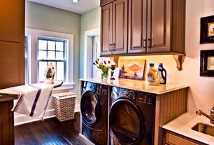 """Traditional Laundry Room with Built-in bookshelf, Mullican Flooring Maple Truffle 3/4"""" Thick 3"""" Wide, Undermount sink"""