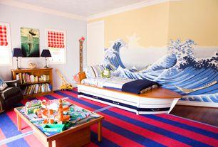 Eclectic Kids Bedroom with Hardwood floors, 8x10 ocean liner rug, Cameron 2-shelf bookcase, chestnut, Mural, specialty door
