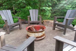 Rustic Patio with Adirondack chair, Private backyard, Private wooded setting, Outdoor fire pit, Fire pit