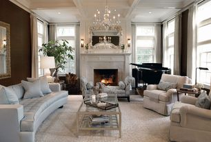 Traditional Living Room with stone fireplace, Fukuoka Grasscloth GRS-8912, Oregon tile and marble calacatta, Paint 1