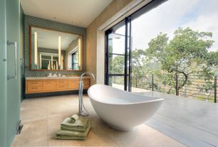 Contemporary Master Bathroom with Freestanding tub filler with shower wand, Balcony, Quartz counters, Freestanding