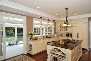 Traditional Kitchen with Crown molding, Pendant light, Framed Partial Panel, full backsplash, specialty door, Inset cabinets
